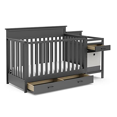 Stork Craft Arizona All-in-One Convertible Crib with Under Storage Drawer and Changer with Table & Pad, Bonus Portable Hamper for Laundry or Toys, Full-Size, Grey