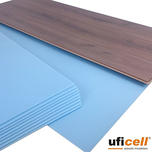 10 m² | uficell SOFT-Step Akustik Trittschalldämmung für Laminat-/ Parkett- und Korkböden - 5 mm Stark - Hervorragend als Wärmedämmung geeignet - Trittschallverbesserung bis 22 dB(A) (1, 10 m²)