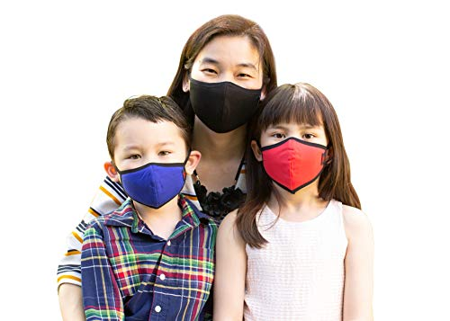 NA:NURI Classic - 1 Cloth Face Mask with 10 Filters, For Kids, Reusable and Washable, Breathable, Lightweight, Three Layers, Made in Korea, Classic Regular (Red with Black accent, S)