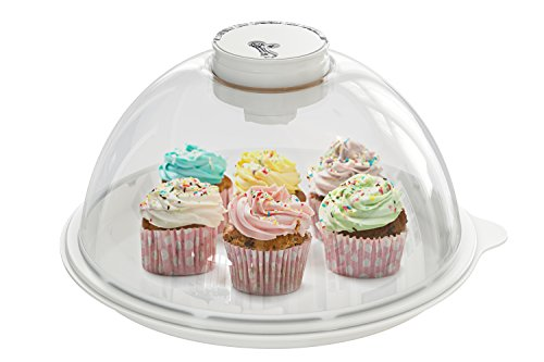 Skywin Vacuum Bread Box Air Tight Storage Container and Serving Tray for Cakes Bagels and Bread Loaves - Automatically Seals and Keeps Pastries Fresh for Serving and Transport (Marble)