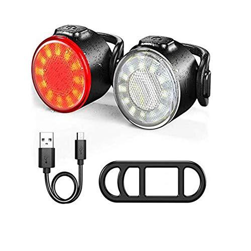 LED Fahrradlicht Set, USB wiederaufladbar wasserdicht Frontlicht Rücklicht Licht für Fahrrad Set IPX5 beinhaltet 2 x Fahrrad FrontlichtUSB Kabel.Kabelbinder (rot-Weiss)