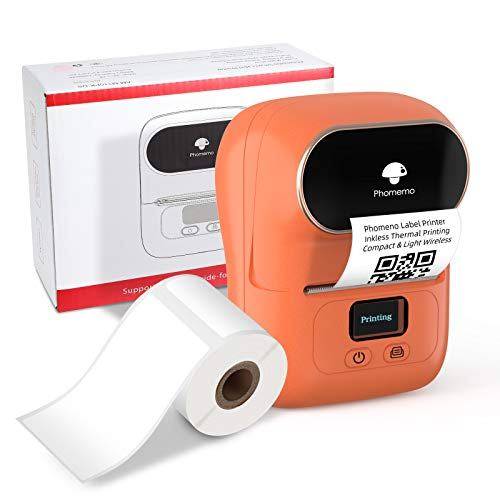 Phomemo M110 Portable Thermal Label Printer - Wireless Bluetooth Label Maker Machine Inkless Barcode Printer Compatible with iPhone and Android Phones Ideal for Labeling, Tags, Cable, Retail, Address