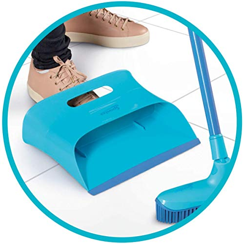 Spontex Catch & Clean, Kehrbesen mit Gummiborsten, Teleskopstiel und praktischem Auffangbehälter, hygienische und effiziente Reinigung für alle Bodenbeläge, 1 Set - 2