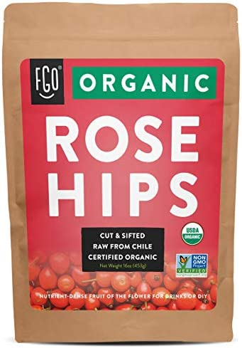 Organic Rosehips Cut Sifted Raw from Chile 16oz 453g Resealable Kraft Bag by FGO product image