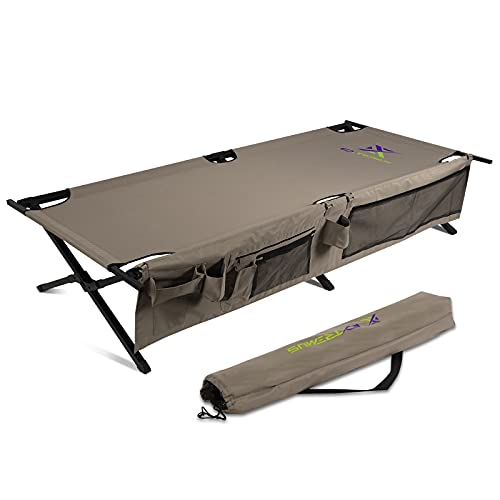 Extremus New Komfort Camp Cot, Folding Camping Cot, Guest Bed, 300 lbs Capacity, Steel Frame, Strong 300D Polyester Surface, Includes Side Storage...