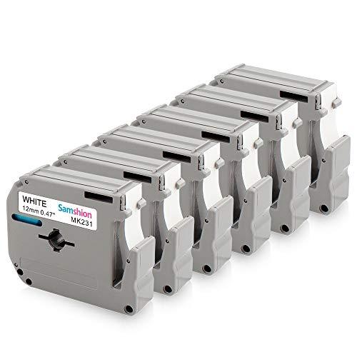 Samshion Compatible Label Tape Replacement for Brother M-K231S 12mm 0.47 M Tape M-231 M-K231 M231 MK231 Black on White for Brother P-Touch PT-M95 PT-70BM PT-45 PT-65 PT-90 More, 26.2 Ft (8m), 6-Pack