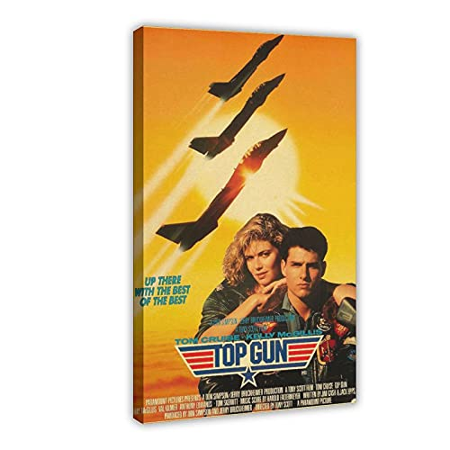 Top Gun Original Movie Poster 1986 Retro Nostalgia Canvas Poster Wall Art Decor Print Picture Paintings for Living Room Bedroom Decoration DONGDA Poster Frame:20×30inch(50×75cm)
