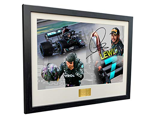 Super A3+ Tamaño '7 veces campeón mundial edición celebración' – firmado por Lewis Hamilton – Mercedes-AMG Petronas – Marco de fotos autografiado para el deporte motor Fórmula 1 F1