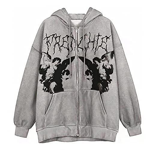 RONGbbppQ Women Y2K Hoodie Zip Up Sweatshirt 90s Graphic Jacket with Pocket Oversized Long Sleeve Coat Streetwear Ladies jacket Top Clothing