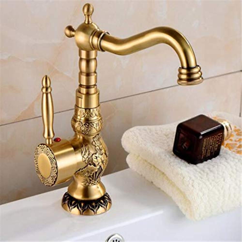 Waschtischarmatur Für Bad Wasserhahn Bad Antiker Mischbatterie Küchenarmatur Kupfer Hei & Kalt Mode Badezimmer Wasserhahn Becken Drehen