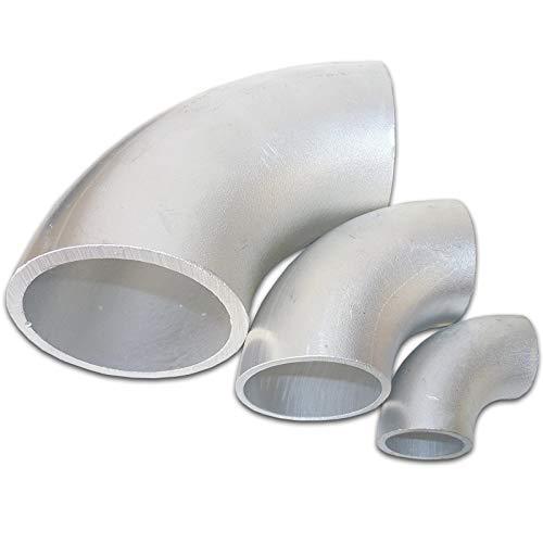 B&T Metall Aluminium Rohrbogen 90°, Ø Größe 35 x 2,5 mm | Alu Schweissbogen Kniestück | Schweiß-Fitting Bauart Norm 3 | gepresstes Winkelstück | eloxierfähiger Stahlrohr-Bogen AlMgSi0,12