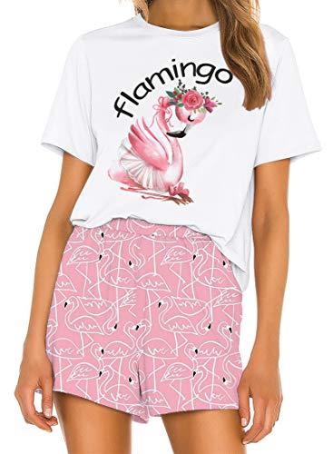 Ocean Plus Damen Digitaldruck Sommer Kurzarm Schlafanzüge Homewear Lässig Losen Pyjama Zweiteiligen Anzug Nachtwäsche Shorts & T-Shirt Sets (S (EU), Flamingo)