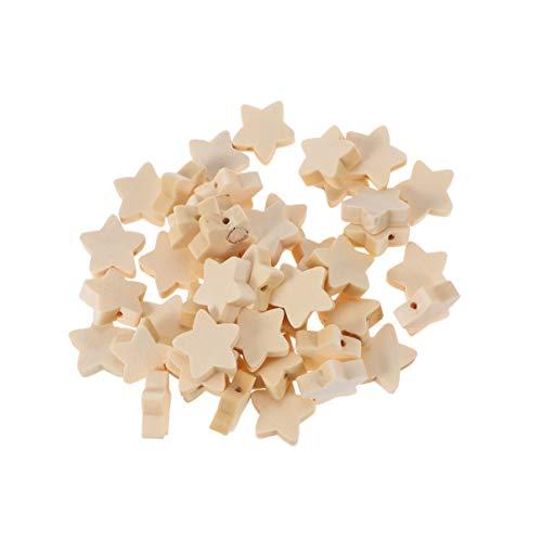 HEALLILY cuentas de madera natural cuentas en forma de estrella cuentas espaciadoras sueltas de madera para diy artesanía pulsera collar joyería haciendo 50 piezas