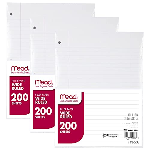 """Mead Loose Leaf Paper, Wide Ruled, 200 Sheets, 10-1/2"""" x 8"""", Lined Filler Paper, 3 Hole Punched for 3 Ring Binder, Writing & Office Paper, Perfect for College, K-12 or Homeschool, 3 Pack (73183)"""
