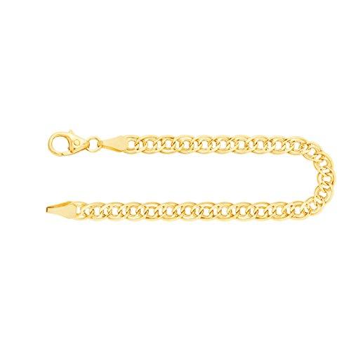 Armband Zwillingspanzerkette Gelbgold 585/14 K, Länge 19 cm, Breite 3.5 mm, Gewicht ca. 2.3 g, NEU