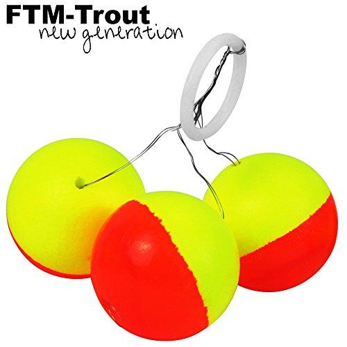 FTM Trout Piloten rund orange/gelb - 3 Pilotposen zum Forellenangeln, Bissanzeiger zum Angeln auf Forellen am Forellensee, Durchmesser:24mm