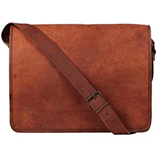 Customer reviews Rustic Town Leather Vintage Crossbody Messenger Courier Bag Gift Men Women Business Work Carry Laptop Computer Books Handmade Rugged & Distressed ~ Everyday Office College School 15 Inch:Netac2