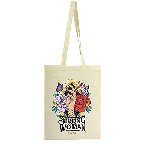 Frida Kahlo Bolsa de tela 100% algodón con asas largas Complemento de moda para mujer. Bolsa reutilizable para la compra fabricada en España. Diseño original Strong Woman