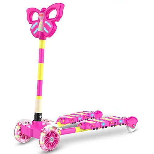 Thole Patinete Plegable NiñO Tipo Scooter con MúSica Rueda De Flash De PU 4 Rondas con Manillar Ajustable Freno,Pink
