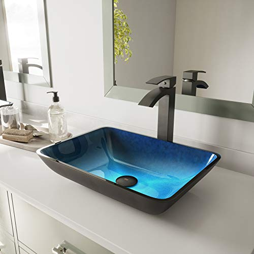VIGO VG07068 18.25' -13.0' W -4.0' H Turquoise Water Handmade Countertop Glass Rectangular Vessel Bathroom Sink in Turquoise Finish