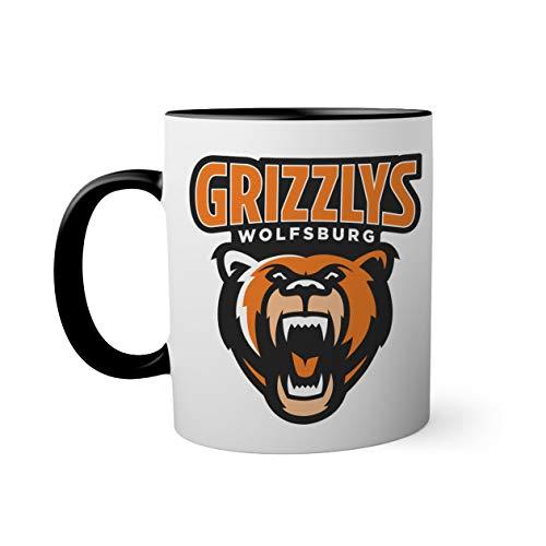 Ice Hockey Team Grizzlys Wolfsburg Eishockey Schwarze Innenseite mit passendem Henkelbecher Mug  Lustige Neuheitstassen für Kaffee-Tee 330ml
