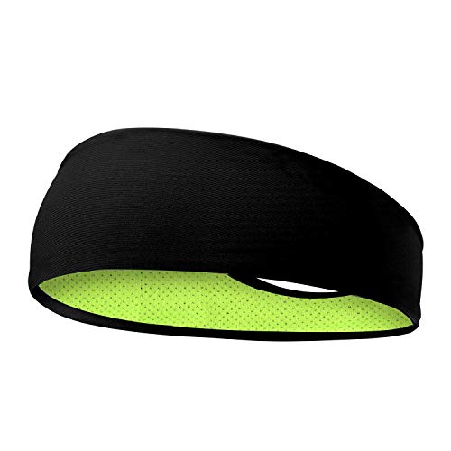 SKUDGEAR Mens Headbands – Guys Sweatband & Sports Headband for Running, Cross Fit, Working Out, Racquetball – Performance Stretch & Moisture Wicking (Black Green)
