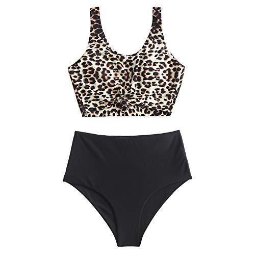 ZAFUL Women's Scoop Neck Tropical Leaf Knotted Two Pieces Tankini Set Swimsuit (A-Black+Leopard, L)
