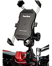 Kaedear(カエディア) バイク スマホ ホルダー バイク用 【 クイックホールド 】 携帯ホルダー スマホ 携帯 スマートフォン アルミ製 バーマウント ミラー マウント 360度回転 原付 オートバイ