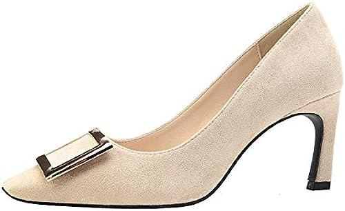FLYRCX Boucle en métal épais avec des Chaussures de Travail en Cuir Verni Peu Profondes Chaussures à Talon pour Femmes Confortables tempérament élégant Talons Hauts