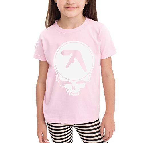 Aphex-Twin Skull Logo Children's T-Shirt Pink 5/6t
