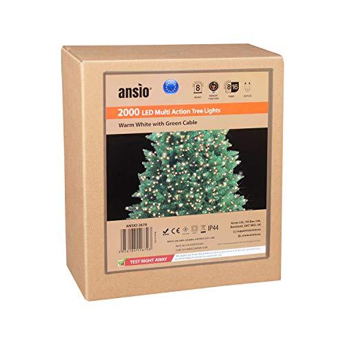 ANSIO Luci natalizie per interni e esterno 2000 LED albero luci Bianco Caldo, 8 modalità con memoria e funzione timer, alimentate, trasformatore incluso 50m/162ft Lunghezza illuminata- CAVO VERDE