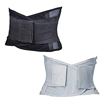 UNCLE SAM Waist Trainer for Women Belt Back Brace Cincher Trimmer Sports Slimming Body Shaper Band with Dual Adjustable Belly Slimming Body Shaper Belt Pack of 2  1pc Black,1pc Gray   M 23 -27