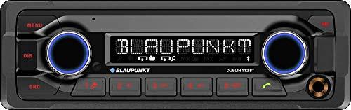 Blaupunkt Dublin 112 BT Heavy Duty Radio para Coche 12V | 1DIN | Manos Libres Bluetooth y Audio | USB | Conexión del Control Remoto del Volante | Control Remoto IR | 4X 50W máx.