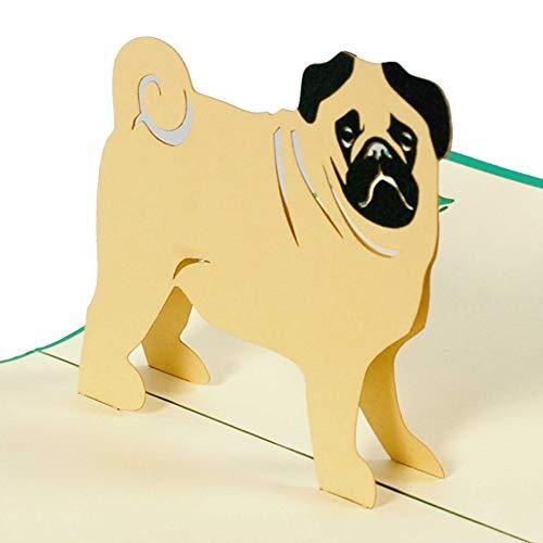 Happy Birthday Pug – 3d tarjeta de/Pop Up/tarjeta de felicitación – Tarjeta de cumpleaños, tarjeta de felicitación, tarjeta de felicitación, tarjeta de regalo para cumpleaños con perro, F17