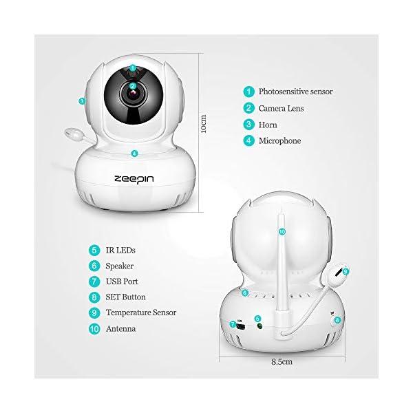 Intercom, Visi/ón Nocturna, Sensor de temperatura, Lullabies Monitor para beb/é blanco Monitor para beb/é con c/ámara Monitor inal/ámbrico para beb/é Zeepin Digital con pantalla LCD de 5