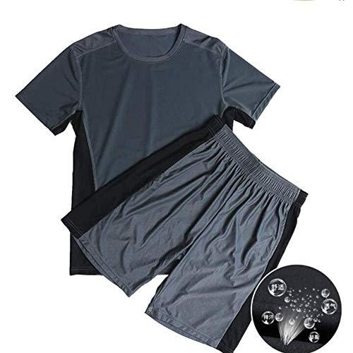 FutuHome Mode Décontractée Plage Manche Courte Costume à séchage Rapide,Homme Sport Outdoor Quick Dry Tops Men Short Sleeved T-Shirt Extensible Shorts, pour Cyclisme Fitness Running