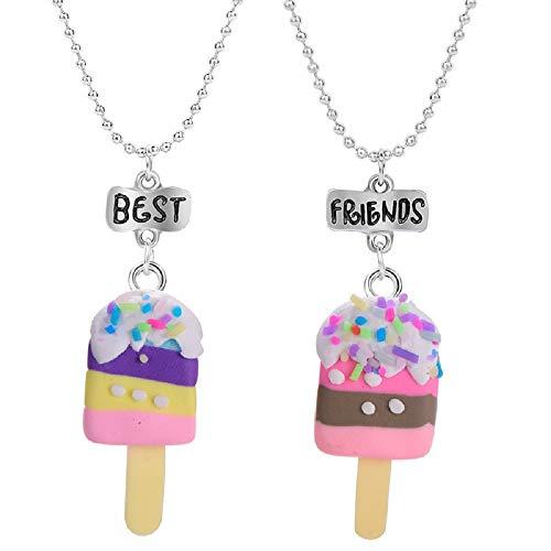 Clysburtuony 2PC Best Friends Necklace Set for Children Girls Ice-cream Design Necklace