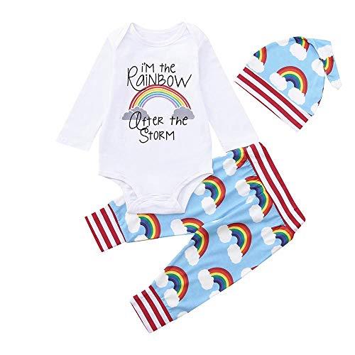 Bebé Mono de Dormir Pijamas,Recién Nacido bebé Arco Iris Impresión Muchacho Tops+Pantalones+Sombreros Ropa Trajes por Venmo