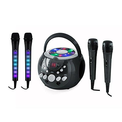 AUNA SingSing schwarz + Dazzl Mic Set schwarz - Karaokeanlage, CD-Player, Wiederholfunktion, 2 x Kara Dazzl Mikrofon und 2 x Mikrofon, LCD-Display, 3m Kabel, LED Lichter am Mikrofon-Griff