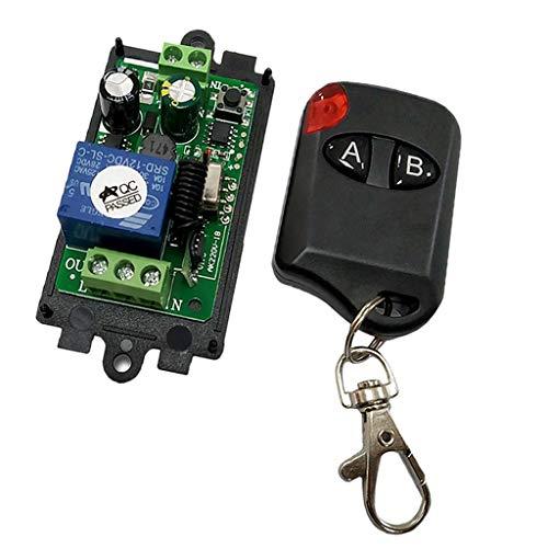 F Fityle Fernbedienung Schalter Relaisschalter Funkschalter mit Empfänger Modul für Garagentor Licht Vorhang Tür und Verschiedene Motorsysteme Steuern - Cat Eye 2 Tasten