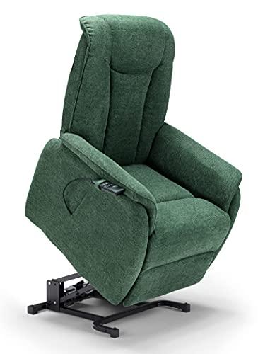 New Boston poltrona relax in tessuto con doppio motore movimento elettrico con funzione alzapersona, reclinabile e posizione TV (Verde)