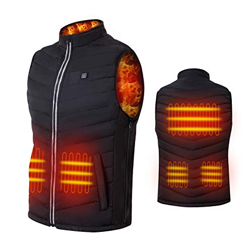 NUNEWARES Heated Vest,USB Charging Lightweight Heated Jacket,Heating Clothing for Men Women,Outdoor(Battery Pack Not Included) (Black, Large)