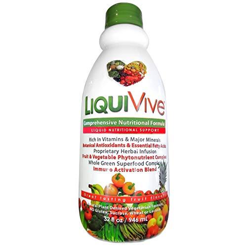 LiquiVive Liquid Vitamins Mega Nutrition | Vegetarian Daily Multivitamin Balance Immune Support Immunity Booster Superfood Of Nature | with Vitamin C D3 A B12 E K | 99.9% Vegan Non-GMO Gluten Free 32 fl oz