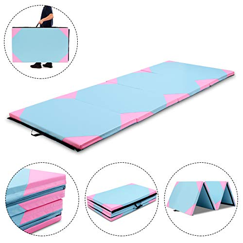 MAT EXPERT 4'x10'x2 Gymnastics Mat Thick Folding for Tumbling Exercise Gym Fitness Mat with Hook &...