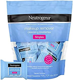 Neutrogena Makeup Remover Cleansing Towelette Singles Individually Wrapped, 20 Pre-moistened Towelettes