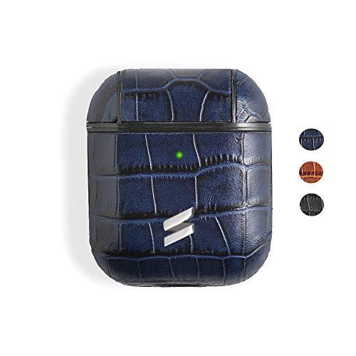 Suritt ® Funda para Airpods 1, 2 y Pro de Piel con Grabado Cocodrilo Sidney (3 Colores Disponibles). (AirPods 1 y 2, Blue)