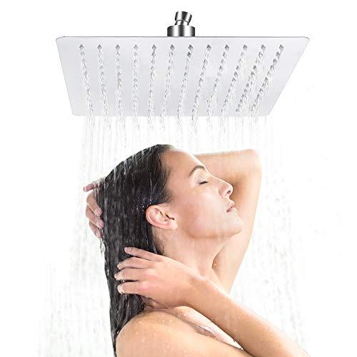 Quadratischer Duschkopf, Edelstahl Regendusche Kopfbrause Einbauduschköpfe Duschkopf Wasserfall Regenduschkopf mit Anti-Kalk Düsen Spiegeleffekt Hochglänzend 30cm x 30cm