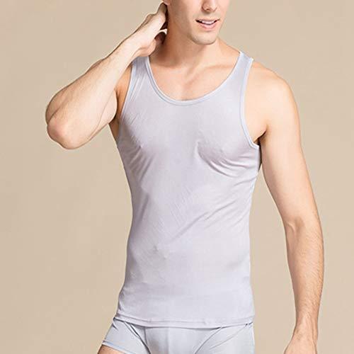 Egurs Heren Vest 100% Zijde Tank Top Mouwloos Onderhemd zwart