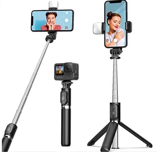 ARTOFUL Palo Selfie Trípode con Luces, Trípode para Movil con Mando a Distancia, Inalámbrico, Selfie Stick con Rotación de 360°, Trípode Estable para 4,7 – 6,7 Pulgadas