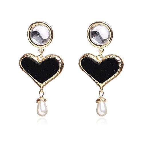 JIAJBG Joyas Exageradas Pendientes Moda Personalidad Artificial Rhinestone Pendientes de Perlas en Forma de Corazón Pendientes Hechos a Mano Decoraciones/A